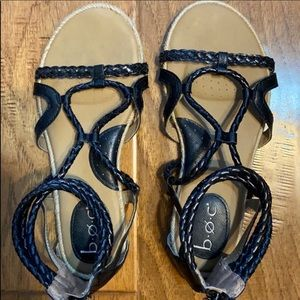 BOC brand black sandals with zip back